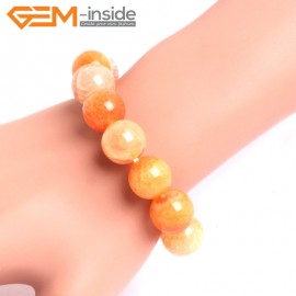"G10630 14mm Round Orange Dragon Veins Agate Healing Elastic Stretch Energy Bracelet 7"" Fashion Jewelry Bracelets for Women"