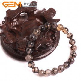 "G10631 8mm Round Black Dragon Veins Agate Healing Elastic Stretch Energy Bracelet 7"" Fashion Jewelry Bracelets for Women"