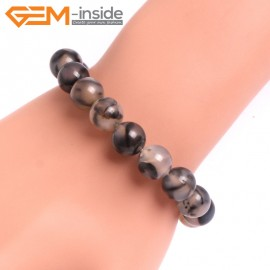 "G10632 10mm Round Black Dragon Veins Agate Healing Elastic Stretch Energy Bracelet 7"" Fashion Jewelry Bracelets for Women"