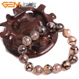 "G10633 12mm Round Black Dragon Veins Agate Healing Elastic Stretch Energy Bracelet 7"" Fashion Jewelry Bracelets for Women"