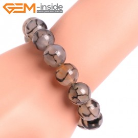 "G10634 14mm Round Black Dragon Veins Agate Healing Elastic Stretch Energy Bracelet 7"" Fashion Jewelry Bracelets for Women"