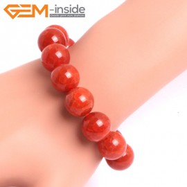 "G10636 14mm Round Red Dragon Veins Agate Healing Elastic Stretch Energy Bracelet 7"" Fashion Jewelry Bracelets for Women"