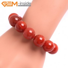 "G10637 16mm Round Red Dragon Veins Agate Healing Elastic Stretch Energy Bracelet 7"" Fashion Jewelry Bracelets for Women"