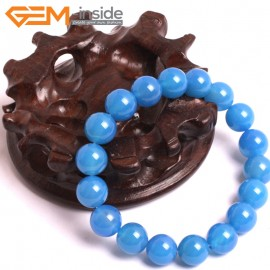 "G10640 10mm Round Blue Agate Natural Stone Healing Elastic Stretch Energy Bracelet 7"" Fashion Jewelry Bracelets for Women"
