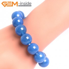 """G10642 14mm Round Blue Agate Natural Stone Healing Elastic Stretch Energy Bracelet 7"""" Fashion Jewelry Bracelets for Women"""