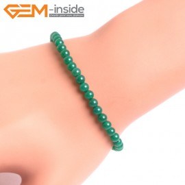 """G10655 4mm Round Green Agate Natural Stone Healing Elastic Stretch Energy Bracelet 7"""" Fashion Jewelry Bracelets for Women"""