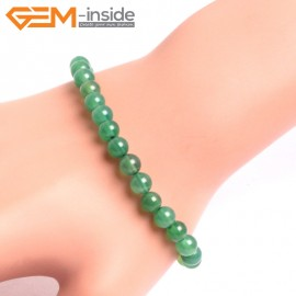 """G10656 6mm Round Green Agate Natural Stone Healing Elastic Stretch Energy Bracelet 7"""" Fashion Jewelry Bracelets for Women"""