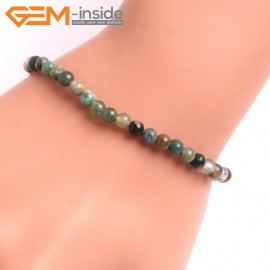 """G10661 4mm Round Indian Agate Natural Stone Healing Elastic Stretch Energy Bracelet 7"""" Fashion Jewelry Bracelets for Women"""