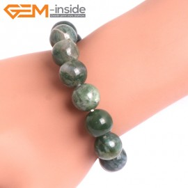 """G10674 12mm Round Moss Agate Natural Stone Healing Elastic Stretch Energy Bracelet 7"""" Fashion Jewelry Bracelets for Women"""