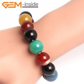 """G10706 14mm Round Mutil-Color Agaet  Natural Stone Healing Elastic Stretch Energy Bracelet 7"""" Fashion Jewelry Bracelets for Women"""
