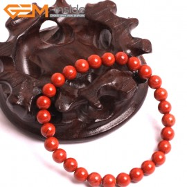 "G10708 6mm Round Red Jasper Natural Stone Healing Elastic Stretch Energy Bracelet 7"" Fashion Jewelry Bracelets for Women"