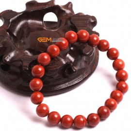 "G10709 8mm Round Red Jasper Natural Stone Healing Elastic Stretch Energy Bracelet 7"" Fashion Jewelry Bracelets for Women"