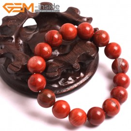 "G10711 12mm Round Red Jasper Natural Stone Healing Elastic Stretch Energy Bracelet 7"" Fashion Jewelry Bracelets for Women"