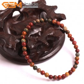 "G10713 4mm Round Picasso Jasper Natural Stone Healing Elastic Stretch Energy Bracelet 7"" Fashion Jewelry Bracelets for Women"