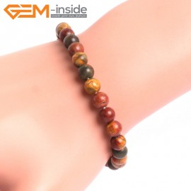 "G10714 6mm Round Picasso Jasper Natural Stone Healing Elastic Stretch Energy Bracelet 7"" Fashion Jewelry Bracelets for Women"