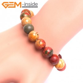 "G10716 10mm Round Picasso Jasper Natural Stone Healing Elastic Stretch Energy Bracelet 7"" Fashion Jewelry Bracelets for Women"
