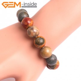 "G10718 14mm Round Picasso Jasper Natural Stone Healing Elastic Stretch Energy Bracelet 7"" Fashion Jewelry Bracelets for Women"