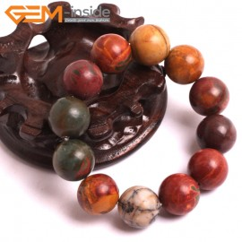 "G10719 16mm Round Picasso Jasper Natural Stone Healing Elastic Stretch Energy Bracelet 7"" Fashion Jewelry Bracelets for Women"