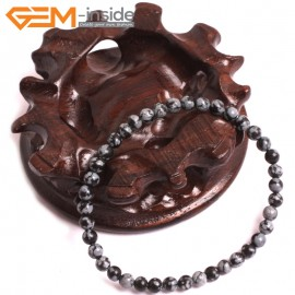"G10720 4mm Round Rainbow Snowflake Obsidian Natural Stone Healing Elastic Stretch Energy Bracelet 7"" Fashion Jewelry Bracelets for Women"