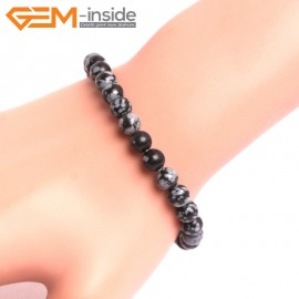 "G10721 6mm Round Rainbow Snowflake Obsidian Natural Stone Healing Elastic Stretch Energy Bracelet 7"" Fashion Jewelry Bracelets for Women"