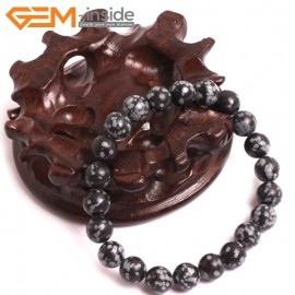 "G10722 8mm Round Rainbow Snowflake Obsidian Natural Stone Healing Elastic Stretch Energy Bracelet 7"" Fashion Jewelry Bracelets for Women"