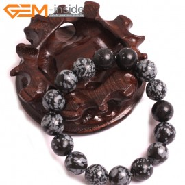 "G10724 12mm Round Rainbow Snowflake Obsidian Natural Stone Healing Elastic Stretch Energy Bracelet 7"" Fashion Jewelry Bracelets for Women"