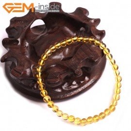 "G10733 4mm Round Yellow Citrine Quartz Stone Healing Elastic Stretch Energy Bracelet 7"" Fashion Jewelry Bracelets for Women"