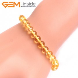 "G10734 6mm Round Yellow Citrine Quartz Stone Healing Elastic Stretch Energy Bracelet 7"" Fashion Jewelry Bracelets for Women"