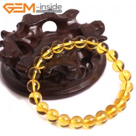 "G10735 8mm Round Yellow Citrine Quartz Stone Healing Elastic Stretch Energy Bracelet 7"" Fashion Jewelry Bracelets for Women"