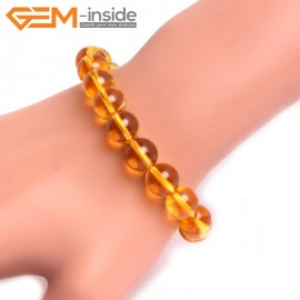 "G10736 10mm Round Yellow Citrine Quartz Stone Healing Elastic Stretch Energy Bracelet 7"" Fashion Jewelry Bracelets for Women"
