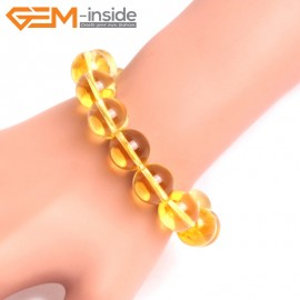 "G10737 14mm Round Yellow Citrine Quartz Stone Healing Elastic Stretch Energy Bracelet 7"" Fashion Jewelry Bracelets for Women"