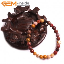 "G10738 6mm Round Mookaite Natural Stone Healing Elastic Stretch Energy Bracelet 7"" Fashion Jewelry Bracelets for Women"