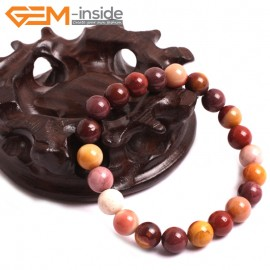 "G10739 8mm Round Mookaite Natural Stone Healing Elastic Stretch Energy Bracelet 7"" Fashion Jewelry Bracelets for Women"