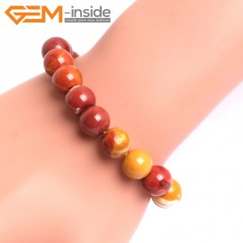 "G10740 10mm Round Mookaite Natural Stone Healing Elastic Stretch Energy Bracelet 7"" Fashion Jewelry Bracelets for Women"