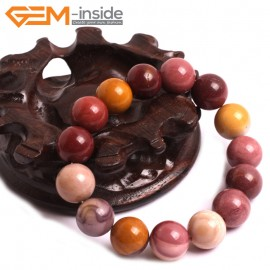 "G10741 12mm Round Mookaite Natural Stone Healing Elastic Stretch Energy Bracelet 7"" Fashion Jewelry Bracelets for Women"