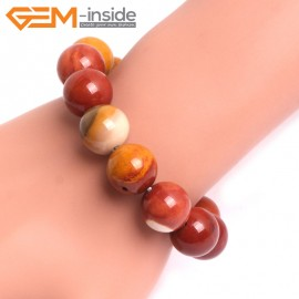 "G10742 14mm Round Mookaite Natural Stone Healing Elastic Stretch Energy Bracelet 7"" Fashion Jewelry Bracelets for Women"