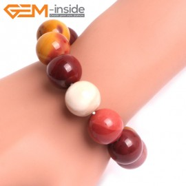 "G10743 16mm Round Mookaite Natural Stone Healing Elastic Stretch Energy Bracelet 7"" Fashion Jewelry Bracelets for Women"