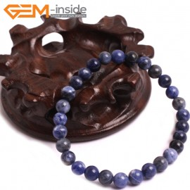 "G10744 6mm Round Blue Sodalite Natural Stone Healing Elastic Stretch Energy Bracelet 7"" Fashion Jewelry Bracelets for Women"