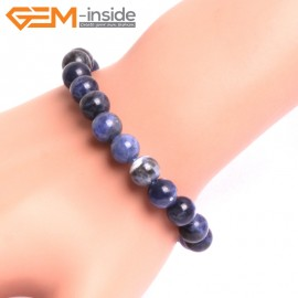 "G10746 10mm Round Blue Sodalite Natural Stone Healing Elastic Stretch Energy Bracelet 7"" Fashion Jewelry Bracelets for Women"
