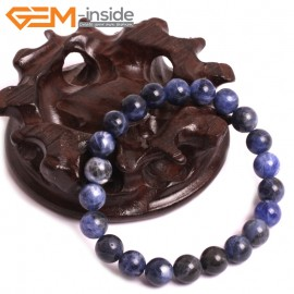"G10745 8mm Round Blue Sodalite Natural Stone Healing Elastic Stretch Energy Bracelet 7"" Fashion Jewelry Bracelets for Women"