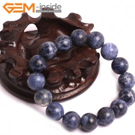 "G10747 12mm Round Blue Sodalite Natural Stone Healing Elastic Stretch Energy Bracelet 7"" Fashion Jewelry Bracelets for Women"