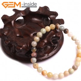 "G10758 4mm Round Muti-Color Amazonite Natural Stone Healing Elastic Stretch Energy Bracelet 7"" Fashion Jewelry Bracelets for Women"