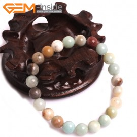 """G10760 8mm Round Mutil-Color Amazonite Natural Stone Healing Elastic Stretch Energy Bracelet 7"""" Fashion Jewelry Bracelets for Women"""