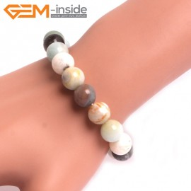 "G10761 10mm Round Mutil-Color Amazonite Natural Stone Healing Elastic Stretch Energy Bracelet 7"" Fashion Jewelry Bracelets for Women"