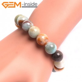 "G10762 12mm Round Mutil-Color Amazonite Natural Stone Healing Elastic Stretch Energy Bracelet 7"" Fashion Jewelry Bracelets for Women"
