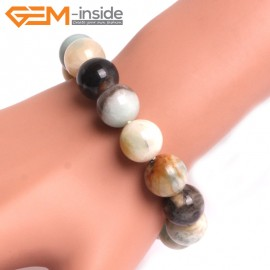 "G10763 14mm Round Mutil-Color Amazonite Natural Stone Healing Elastic Stretch Energy Bracelet 7"" Fashion Jewelry Bracelets for Women"