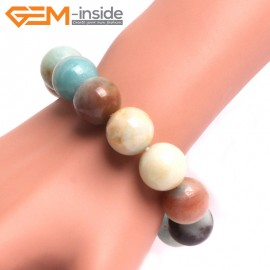 """G10764 16mm Round Mutil-Color Amazonite Natural Stone Healing Elastic Stretch Energy Bracelet 7"""" Fashion Jewelry Bracelets for Women"""