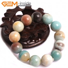 "G10764 16mm Round Mutil-Color Amazonite Natural Stone Healing Elastic Stretch Energy Bracelet 7"" Fashion Jewelry Bracelets for Women"