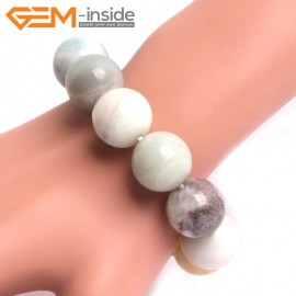 "G10765 18mm Round Mutil-Color Amazonite Natural Stone Healing Elastic Stretch Energy Bracelet 7"" Fashion Jewelry Bracelets for Women"