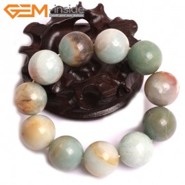 "G10766 20mm Round Mutil-Color Amazonite Natural Stone Healing Elastic Stretch Energy Bracelet 7"" Fashion Jewelry Bracelets for Women"